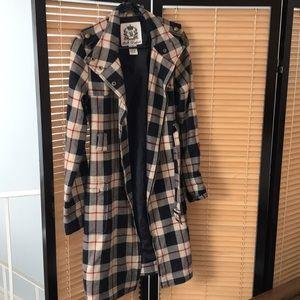 BB Dakota Plaid Trench Coat